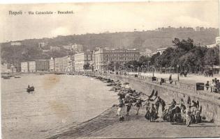 Naples, Napoli; Via Caracciolo, Pescatori / street, fishermen