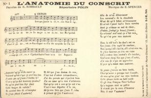 L'Anatomie du Conscrit, Musique de E. Spencer, sheet music, 'Paris-Chansons'
