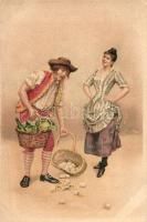 Couple, eggs, litho