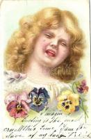 Crying girl, flowers, litho, Síró kislány, virágok, litho