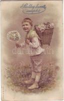 Easter greeting card litho, Húvéti üdvözlőlap litho