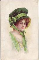 Hölgy kalapban litho, Lady with hat litho