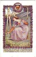 Easter greeting card, Lady, floral 'Deutsche Schulverein' Nr. 46, Húsvét, hölgy, virágok 'Deutsche Schulverein' Nr. 46