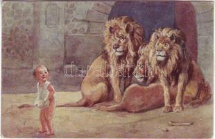 'Daniel in the lions' den' pinx. H. Susemihl, 'Dániel az oroszlánok barlangjában' pinx. H. Susemihl