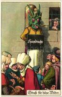 Strasse für böse Weiber; Hausdrache / Middle Ages punishment, E. Nister litho, artist signed, Középkori büntetés, humor litho, szignós