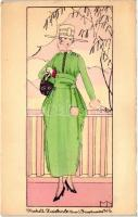 Modell Zwieback, Wien; Kärtnerstrasse 11-15. / fashion advertisement postcard, signed MN