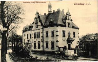 Elsterberg i. V., Postamt, König Albert Denkmal / post office, statue