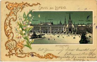 Leipzig, Augustusplatz, Mende-Brunnen, Universitat, Pauliner Kirche, Cafe Francais / square, fountain, university, church, cafe; Robert Becker floral Art Nouveau, litho
