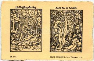 Totentanz 1. 2.; Die Schöpflung aller ding, Adam Eua im Paradyss; F.A. Ackermann's Kunstverlag Serie 219. No. 2234. s: Hans Holbein