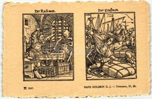 Totentanz 27. 28.; Der Rychman, Der Kauffman; F.A. Ackermann's Kunstverlag Serie 219. No. 2247. s: Hans Holbein