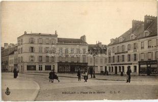 Meulan, Mairie square, shops of Paul Bermot and D. Delon