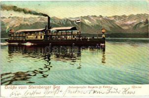 Lake Starnberg, Starnberger See; Salondampfer Bavaria in Fahrt