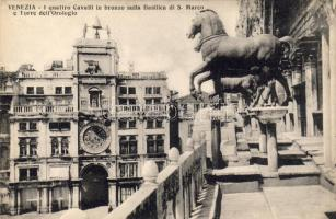 Venice, Venezia; The four bronze horses of St. Mark's Basilica and the Clock Tower