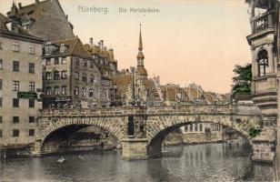 Nürnberg, Karlsbrücke / bridge, Friedrich Borich jeweler, Anton Mikolasch's shop, Weiner's cafe