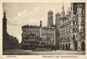 München, Marienplatz, Kaufingerstrasse, Frauenkirche, Mariensäule / square, street, church, statue