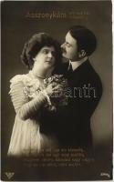 Asszonykám adj egy kis kimenőt... Humoros romantikus pár lap Humorous romantic couple postcard