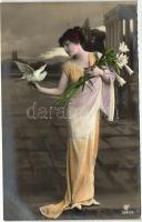 Hölgy, virág, galamb Lady, flower, dove