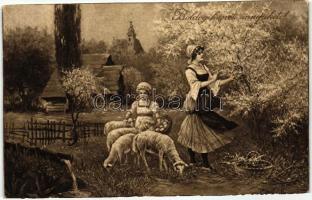 Easter, lady, child, lambs, W.R.B. & Co. Serie Nr. 2773., Húsvét, hölgy, gyerek, bárányok, W.R.B. & Co. Serie Nr. 2773.