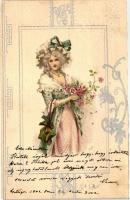 Lady, silver Art Nouveau litho, Hölgy, ezüst Art Nouveau litho