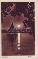 Balaton, vitorlás hajó, este, hold