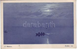 Balaton, csónak, este