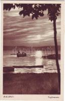 Balaton, csónak, naplemente