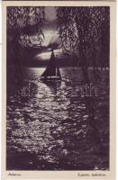 Balaton, vitorlás hajó, este