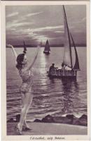 Balaton, nő fürdőruhában, vitorlás hajók