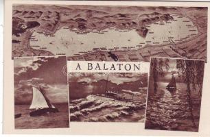Balaton, térkép, hajó, vitorlás hajók