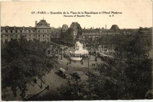 Paris, Republic square, Moderne Hotel, trams