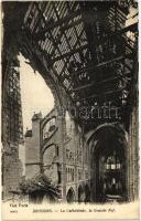 Soissons, the Cathedral interior, the nave, World War I., Soissons, a Katedrális belseje, a főhajó, I. világháború
