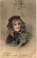 Christmas, lady, M. Munk Vienne Nr. 202., Karácsony, hölgy, M. Munk Vienne Nr. 202.