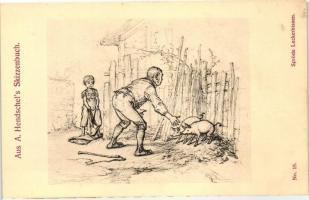Aus A. Hendschel's Skizzenbuch No. 19. 'Spröde Leckerbissen' pinx. A. Hendschel