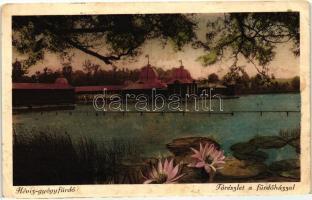 Hévíz-gyógyfürdő, lake with the bathing house, lotus flower, Hévíz-gyógyfürdő, tórészlet a fürdőházzal, lótuszvirág