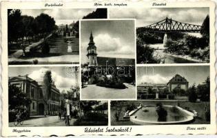 Szolnok, park, Catholic church, bridge, County Hall, Hotel Tisza, Szolnok, Parkrészlet, Római Katolikus templom, Tisza híd, Megyeháza, Tisza szálló