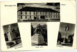 Balassagyarmat, barracks, monument of '16, Heroes statue, National flag, Balassagyarmat, laktanya, 16-os emlékmű, Hősök szobra, Országzászló