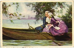 Italian art postcard, romantic couple in a rowboat, G.O.M. No. 3358