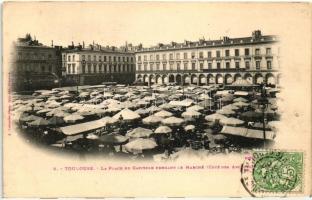 Toulouse, Place du Capitole, Marche, restaurant et cafe de la Paix / square, market, restaurant, cafe, shops