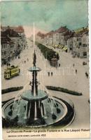 La Chaux-de-Fonds, Grande Fontaine, Rue Leopold Robert / fountain, street, tram