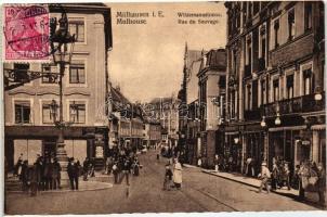 Mulhouse, Mülhausen i/Els.; Rue du Sauvage / street, shops