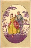 Italian art postcard, Baroque couple, Majestic CCM 2470.  s: Hardy Olasz művészlap, barokk pár, Majestic CCM 2470.  s: Hardy