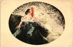 Italian art postcard, Erotic lady with clown, E.K. & C. Serie 1960.  artist signed Olasz művészlap, erotikus hölgy bohóccal, E.K. & C. Serie 1960. szignós