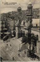 Algiers, Alger; Cathedral, Rue de la Lyre / tram