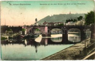St. Johann, Saarbrücken; Saarpartie, Alten Brücke, Winterberg / river, bridge, barges