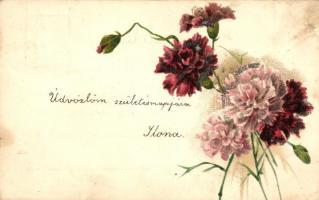 Pink flowers, decorated litho, Szegfű, litho