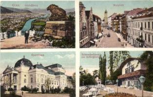 Graz, Schlossberg, Opernhaus, Murplatz, Schweizerhaus am Schlossberg / castle hill, opera, square