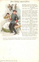 "I. világháborús katonai humor, Humorist Dalli-Postkarten Nr. 24. ""1943 Zuglói Danuvia I. Bélyegkiállítás"" So. Stpl, Der fettige Grenadier / The oily infantryman, WWI K.u.K. military humour, Humorist Dalli-Postkarten Nr. 24."