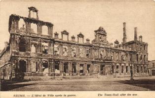 Reims, apres la guerre, Hotel de Ville / town hall after the war, ruins