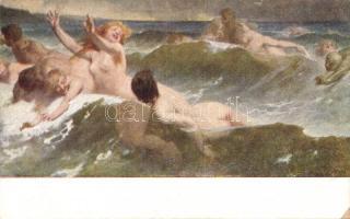 Nude erotic art postcard s: Benczúr Hullámhajsza / Meztelen erotikus művészlap s: Benczúr