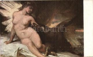 Emese és a sas / Meztelen erotikus művészlap s: Benczúr Emese und der Adler / Nude erotic art postcard s: Benczúr
